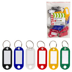 Бирки для ключей КОМПЛЕКТ 50 ШТ., длина 50 мм, инфо-окно 30х15 мм, АССОРТИ, STAFF, 237489