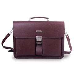 Портфель из натуральной кожи, 42х30х10 см, 2 отделения, замок с ключом, коричневый, 2-106