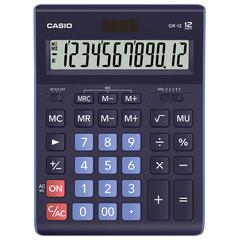 Калькулятор настольный CASIO GR-12-BU (210х155 мм), 12 разрядов, двойное питание, ТЕМНО-СИНИЙ