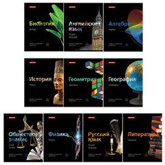 Тетради предметные, КОМПЛЕКТ 10 ПРЕДМЕТОВ, BLACK & BRIGHT, 48 листов, глянцевый лак, BRAUBERG, 403560