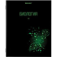 Тетрадь предметная DARK 48 листов, глянцевый лак, БИОЛОГИЯ, клетка, подсказ, BRAUBERG, 403969