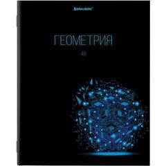 Тетрадь предметная DARK 48 листов, глянцевый лак, ГЕОМЕТРИЯ, клетка, подсказ, BRAUBERG, 403971