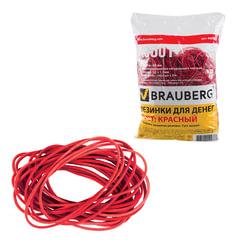 Резинки банковские универсальные диаметром 60 мм, BRAUBERG 1000 г, красные, натуральный каучук, 440101