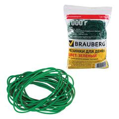 Резинки банковские универсальные диаметром 60 мм, BRAUBERG 1000 г, зеленые, натуральный каучук, 440103