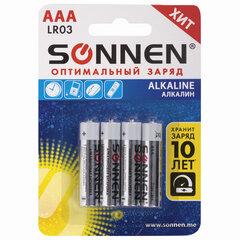 Батарейки КОМПЛЕКТ 4 шт., SONNEN Alkaline, AAA (LR03, 24А), алкалиновые, мизинчиковые, в блистере, 451088