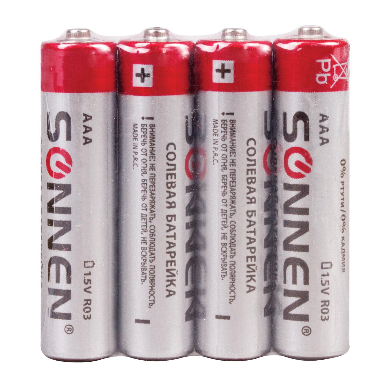 Батарейки КОМПЛЕКТ 4 шт, SONNEN, AAA (R03, 24А), солевые, мизинчиковые, в пленке, 451098