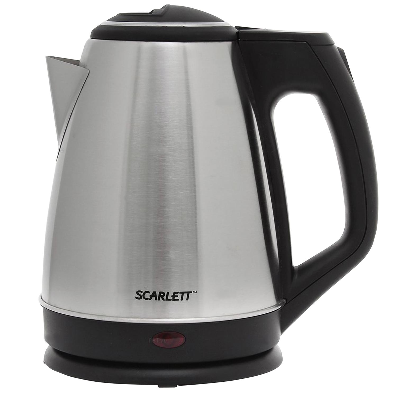 Чайник SCARLETT SC-EK21S25, 1,5 л, 1350 Вт, закрытый нагревательный элемент, сталь