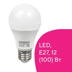 Лампа светодиодная SONNEN, 12 (100) Вт, цоколь Е27, груша, теплый белый свет, 30000 ч, LED A60-12W-2700-E27, 453697
