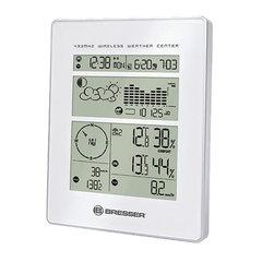 Метеостанция BRESSER 5в1, 3 термодатчика, гигрометр, барометр, ветромер, дождемер, будильник, белый, 73259