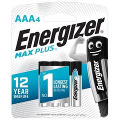 Батарейки КОМПЛЕКТ 4 шт., ENERGIZER Max Plus, AAA (LR03, 24А), алкалиновые, мизинчиковые, блистер