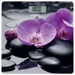 """Весы напольные SCARLETT SC-BS33E067 """"Орхидеи"""", электронные, максимальная нагрузка 180 кг, квадрат, стекло"""