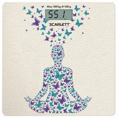 """Весы напольные SCARLETT SC-BS33E098 """"Йога"""", электронные, вес до 180 кг, квадрат, стекло, с рисунком"""