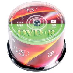 Диски DVD+R VS 4,7 Gb 16x, КОМПЛЕКТ 50 шт., Cake Box, VSDVDPRCB5001