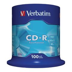 Диски CD-R VERBATIM 700 Mb 52х, КОМПЛЕКТ 100 шт., Cake Box, 43411