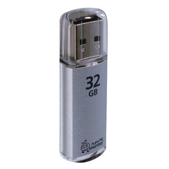 Флеш-диск 32 GB, SMARTBUY V-Cut, USB 2.0, металлический корпус, серебристый, SB32GBVC-S