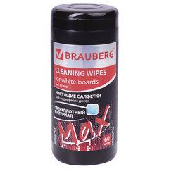 """Чистящие салфетки для маркерных досок ПЛОТНЫЕ, туба 60 шт., влажные, BRAUBERG """"TURBO MAX"""", 513030"""