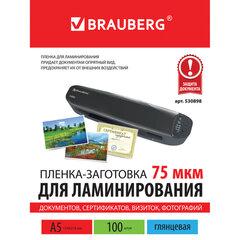 Пленки-заготовки для ламинирования МАЛОГО ФОРМАТА, А5, КОМПЛЕКТ 100 шт., 75 мкм, BRAUBERG, 530898