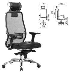 """Кресло офисное МЕТТА """"SAMURAI"""" SL-3, с подголовником, сверхпрочная ткань-сетка/кожа, черное"""