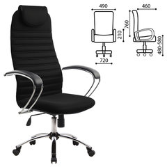 Кресло офисное МЕТТА BK-10CH, ткань-сетка, хром, черное