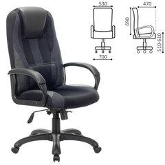 """Кресло компьютерное BRABIX PREMIUM """"Rapid GM-102"""", НАГРУЗКА 180 кг, экокожа/ткань, черное/серое, 532105"""