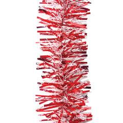 Мишура 1 штука, диаметр 70 мм, длина 2 м, красный с прозрачным в белую точку
