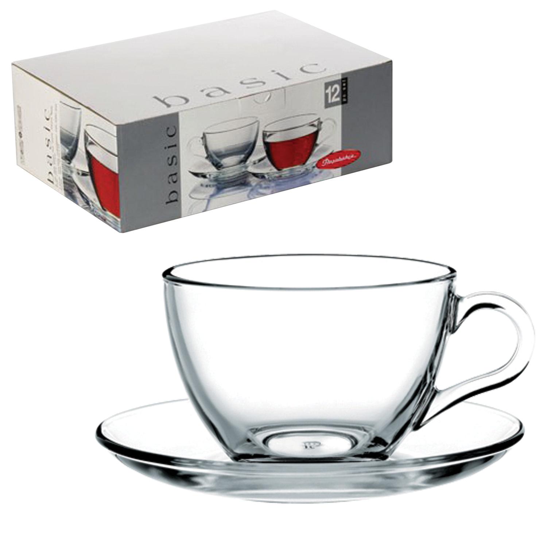 """Набор чайный """"Basic"""" на 6 персон (6 кружек 215 мл, 6 блюдец), стекло, PASABAHCE, 97948"""