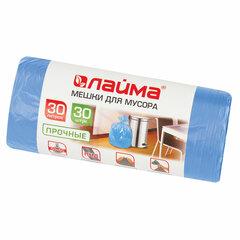 Мешки для мусора 30 л синие в рулоне 30 шт. прочные, ПНД 10 мкм, 50х60 см, LAIMA, 601378