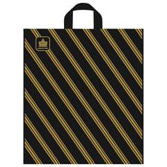 """Пакет с петлевой ручкой ПВД, 42х38 см, """"Золотая полоса"""", 43 мкм"""