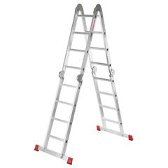 Лестница-трансформер алюминиевая 4х4 ступени, высота 4,5 м (4 секции по 1,2 м) до 150 кг, вес 16,5 кг, НОВАЯ ВЫСОТА