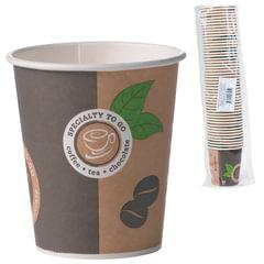 Одноразовые стаканы 200 мл, КОМПЛЕКТ 50 шт., бумажные однослойные, Coffee-to-go, холодное/горячее, HUHTAMAKI