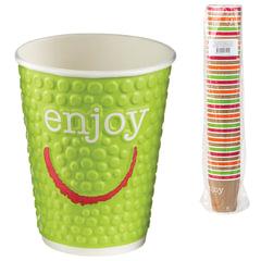 """Одноразовые стаканы 200 мл, КОМПЛЕКТ 37 шт., бумажные двухслойные, """"Impresso Enjoy"""", холодное/горячее, HUHTAMAKI, -0946"""