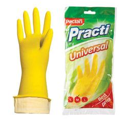 """Перчатки хозяйственные латексные, х/б напыление, разм M (средний), желтые, PACLAN """"Practi Universal"""""""