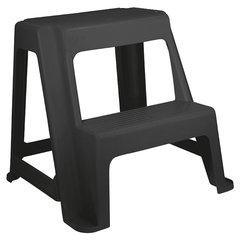 Стремянка-табурет, 2 ступени, стационарная, пластиковая, нагрузка 120 кг, вес 2,4 кг, черная, IDEA
