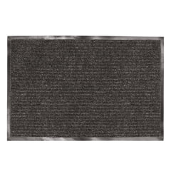 Коврик входной ворсовый влаго-грязезащитный LAIMA, 90х120 см, ребристый, толщина 7 мм, черный, 602874