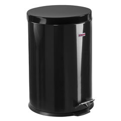"""Ведро-контейнер для мусора (урна) с педалью ЛАЙМА """"Classic"""", 20 л, черное, глянцевое, металл, со съемным внутренним ведром, 604945"""