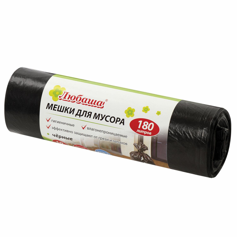 Мешки для мусора 180 л черные в рулоне 10 шт., ПВД 24 мкм, 80х106 см, ЛЮБАША эконом, 605336