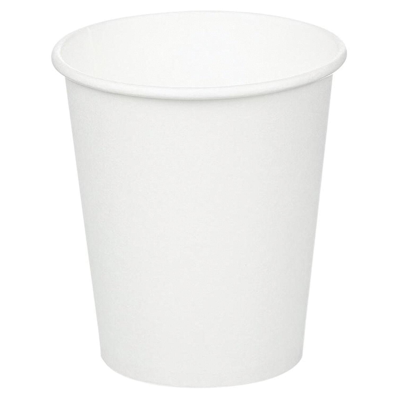 Одноразовые стаканы 200 мл, КОМПЛЕКТ 50 шт., бумажные однослойные, белые, холодное/горячее, HUHTAMAKI, 771S70900-0000