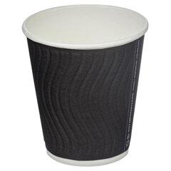Одноразовые стаканы 200 мл, КОМПЛЕКТ 37 шт., бумажный ДВУХСЛОЙНЫЕ, Impresso Black Wave, холодное/горячее, HUHTAMAKI, 771W0900-2405