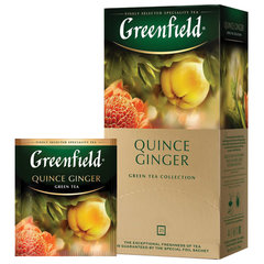 """Чай GREENFIELD (Гринфилд) """"Quince Ginger"""", зеленый, айва-имбирь, 25 пакетиков в конвертах по 2 г"""