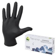 """Перчатки нитриловые смотровые, 50 пар (100 шт.), неопудренные, L (большой), KLEVER """"Стандарт"""", черные"""