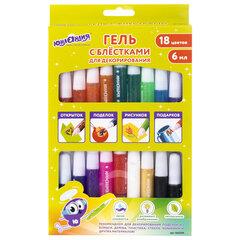 Гель с блестками ЮНЛАНДИЯ, 18 цветов ассорти по 6 мл, картонная упаковка, 662254