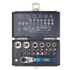 """Набор бит и торцевых головок 1/4"""", 26 предметов, GROSS, магнитный адаптер, храповый ключ, переходник, кейс, 11361"""