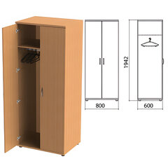"Шкаф для одежды ""Этюд"", 800х600х1942 мм, цвет бук бавария (КОМПЛЕКТ)"
