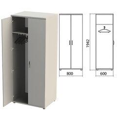 """Шкаф для одежды """"Этюд"""", 800х600х1942 мм, цвет серый (КОМПЛЕКТ)"""